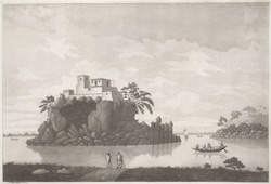 'The Fakeer's Rock near Monghyr'. Aquatint, drawn and engraved by James Moffat, published Calcutta 1800